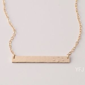 Jewelry - 14K Gold-Filled Texture Monogram Engraved Necklace